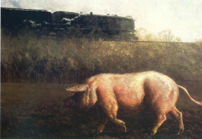 Jamie Wyeth. The pig and the train