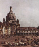 Giovanni Antonio Canal (Canaletto). View of Dresden, the New market from the Jewish Church, fragment