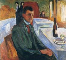 Эдвард Мунк. Автопортрет с бутылкой вина