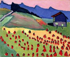 Габриель Мюнтер. Пейзаж с домом на закате