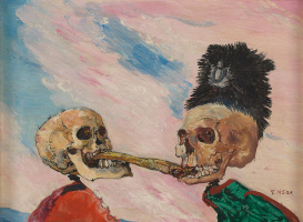 James Ensor. Skeletons fighting over a smoked herring