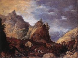 Йоос де Момпер. Горный пейзаж с мостом
