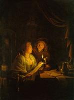 Геррит (Герард) Доу. Пара, читающая при свечах
