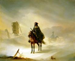 Огюст Раффе. Два французских гусара в дозоре зимой