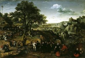 Лукас ван Фалькенборх. Пейзаж с деревенским праздником