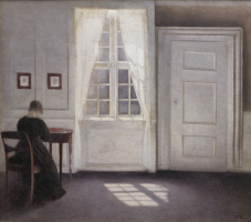 Вильгельм Хаммерсхёй. Интерьер на Страндгед с женой художника за столом и лучом солнца на полу
