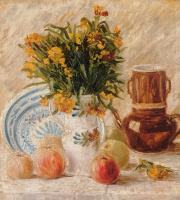 Ваза с цветами, фруктами и кофейником