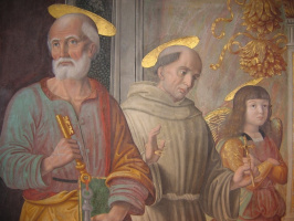 Джованни Санти. Святой Петр и Святой Франциск с ангелом. Фреска Капеллы тиранов в церкви Св. Доминика