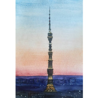 Ostankino television tower at sunset