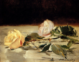 Edouard Manet. Two roses on a tablecloth