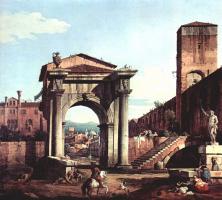 Джованни Антонио Каналь (Каналетто). Римское каприччио, городские ворота и сторожевая башня