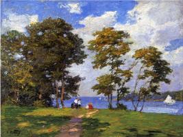 Эдвард Генри Поттаст. Пейзаж на берегу реки