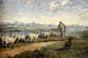 Шарль Эмиль Жак. Пейзаж с стадом овец