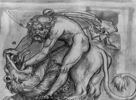Лукас Кранах Старший. Декоративный эскиз, Самсон, сражающийся со львом