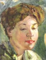 Александр Васильевич Шевченко. Портрет Надежды Псищевой, жены художника. 1906 смешанная техника