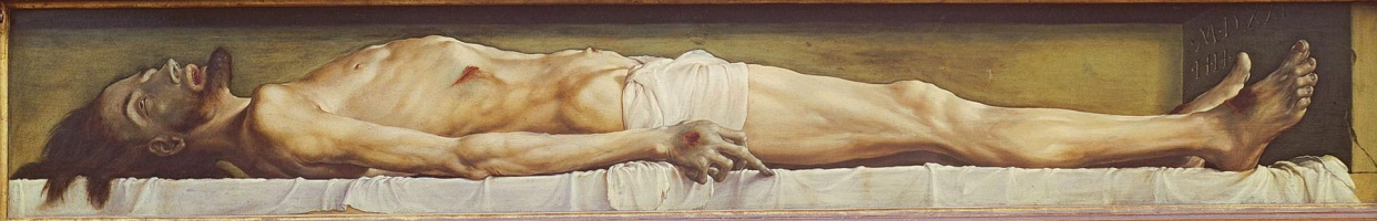 Hans Holbein The Younger. Dead Christ in the coffin