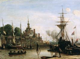 Ян Бартолд Йонгкинд. Вид на гавань Роттердама