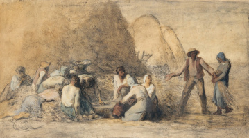 Jean-François Millet. Rest of the harvest workers (sketch for the work of the same name)