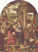 Jos van Kleve. A large adoration of the Magi with St. Dominic and St. Luke