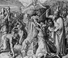 Julius Schnorr von Karolsfeld. Moses excised water from the rock