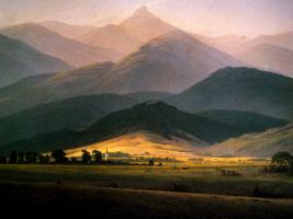 Caspar David Friedrich. Landscape with majestic mountains