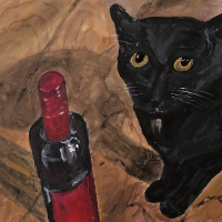 Nikita Chugunov. Black cat on ochre floor with a bottle of red wine