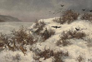 Алексей Кондратьевич Саврасов. Зимний пейзаж с зайцами