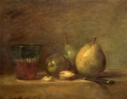 Jean Baptiste Simeon Chardin. Pears, walnuts and glass of wine