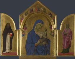 Дуччо ди Буонинсенья. Дева с младенцем и святыми Домиником