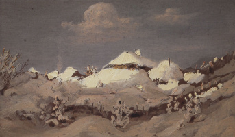 Arkhip Ivanovich Kuindzhi. Winter. Spots of light on the roofs of huts