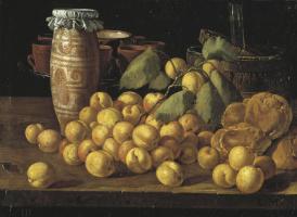 Луис Мелендес. Натюрморт с абрикосами, булочками и посудой