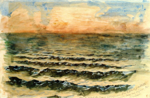 Eugene Delacroix. The waves of the sea at sunset