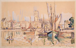 Paul Signac. Sailboats at a pier in Honfleur