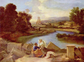 Nicola Poussin. Landscape with the Evangelist Matthew