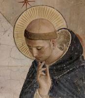 Фра Беато Анджелико. Цикл фресок доминиканского монастыря Сан Марко во Флоренции, сцена: Осмеяние Христа, деталь: св. Доминик