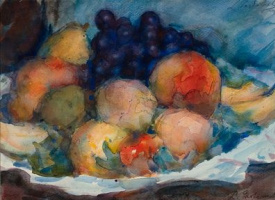 Still life with peaches and black grapes