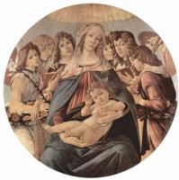 Сандро Боттичелли. Мадонна делла Мелаграна, сцена: Мария с младенцем Христом и шестью ангелами, тондо