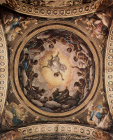The frescoes in the Church of San Giovanni Evangelista in Parma, dome painting, the vision of St. John on Patmos, General view