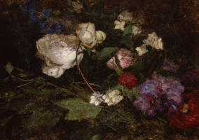 Eugene Boudin. Still life with peonies and mock