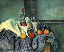Paul Cezanne. Still life with a bottle of crème de menthe