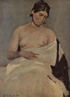 Камиль Коро. Сидящая женщина с обнажённой грудью
