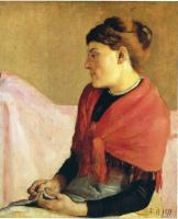Фердинанд Ходлер. Женщина с красной косынкой на плечах