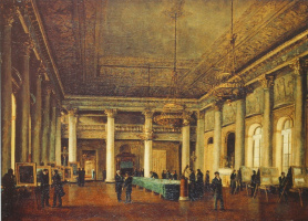 Nikanor Grigorievich Chernetsov. Interior view of home of D. L. Naryshkin during a meeting of the Society for the encouragement of artists
