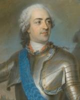 Морис Кантен де Латур. Портрет Людовика XV в доспехах перед Турне