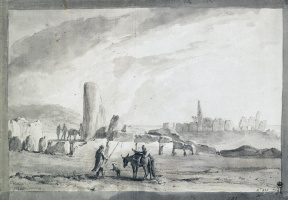 Жан-Пьер-Лоран Уэль. Руины древнего сооружения из гигантских камней Тадарнадур Изрира на острове Мальта