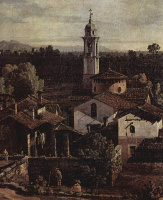 Giovanni Antonio Canal (Canaletto). View of the village Gazzada on the South side, a fragment