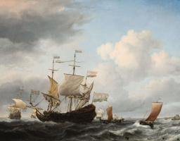 Виллем ван де Вельде Младший. Голландский флагман становится на якорь близ побережья при свежем ветре