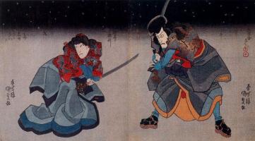 Утагава Кунисада. Актеры кабуки Итикава Данзюро VII и Итикава Кузо II
