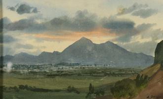 Альберт Николаевич Бенуа. Закат над горами Монтекучио. Палермо