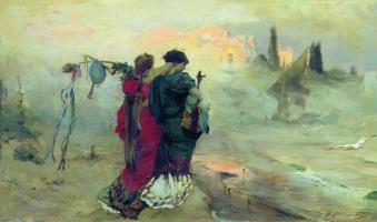 Pavel Alexandrovich Svedomsky. Wandering musicians. Sketch